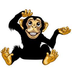 sitting happy cartoon chimp vector image