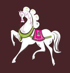 Skipping beautiful white horse vector