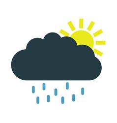 sun icon with rain vector image