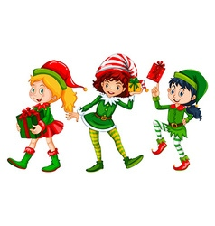Three girls dressed in elf costume for Christmas vector image