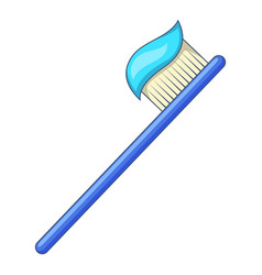 toothbrush with toothpaste icon cartoon style vector image
