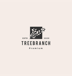 tree branch leaf logo hipster vintage retro icon vector image