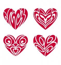 Tribal hearts tattoo set vector