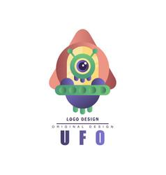 Ufo logo original design label with alien vector