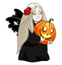 vampire girl with pumpkin vector image