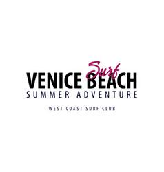 venice beach surfing emblem or logo vector image