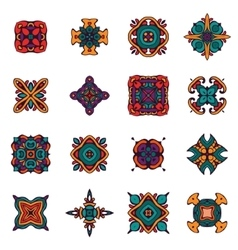 Vintage ethnic tribal design ornamental tiles vector