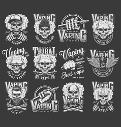 Vintage vaping logotypes collection vector