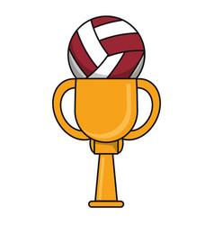 Volleyball trophy sport golden image vector