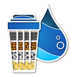 Water filter and drop design vector