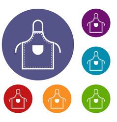 Welding apron icons set vector