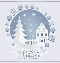 Winter card high-rise building and fir-tree vector