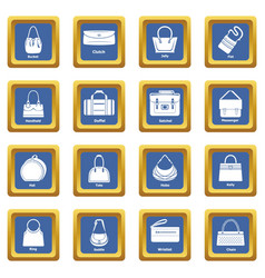 Woman bag types icons set blue square vector