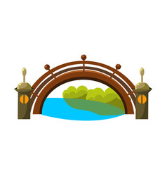 Wooden bridge over riverbonsai miniature vector