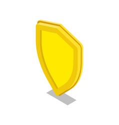 Yellow shield isometric 3d icon vector