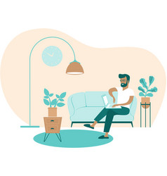 Young man using laptop at home working as vector
