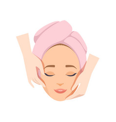 Young woman having anti aging massage beauty vector