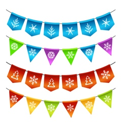 Christmas bunting flags vector