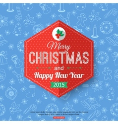 Christmas typographical label over blue seamless vector image