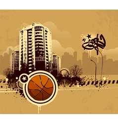 Grunge urban basketball background vector image vector image