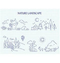 hand drawn nature landscape line set vector image