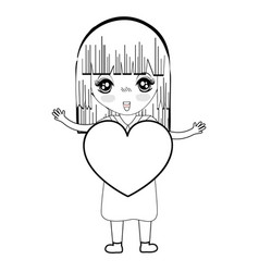 line pretty girl with heart in the hand and dress vector image