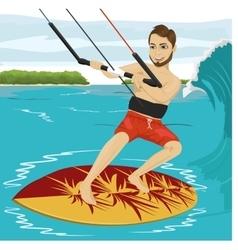 Male kiteboarder enjoys surfing waves vector image
