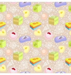 Seamless pattern with bath soaps bombs flowers vector image