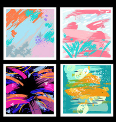 set of backgrounds from brush strokes vector image vector image