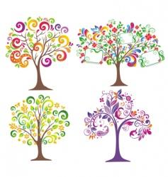 set of beautiful trees vector image