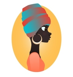 Silhouette of african girl in profile vector image