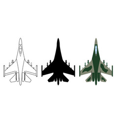 fighter aircraft silhouette cartoon outline vector image vector image