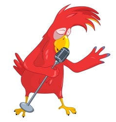 Funny Parrot Singing vector image