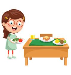 kid preparing breakfast vector image