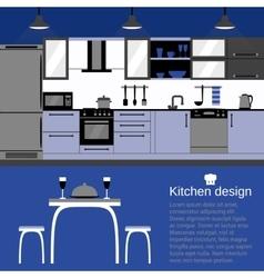 Modern kitchen interior flat design with home vector image