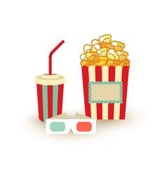 movie poster template popcorn soda takeaway 3d vector image