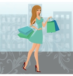 Shopping girl urban vector image