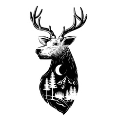 black Deer head vector image vector image