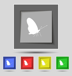 butterfly icon sign on original five colored vector image