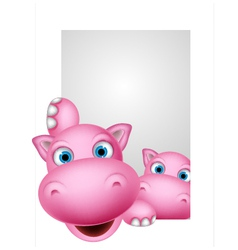cute couple hippo cartoon vector image vector image