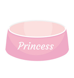 pink dog food bowl with an inscription princess vector image vector image