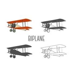 Set of vintage aircraft design elements Retro vector image