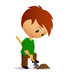 young man working digger with spade vector image vector image