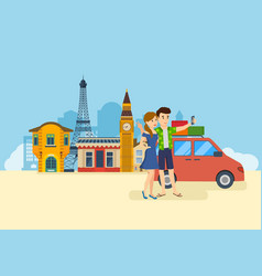 couple in love travel to europe make selfie vector image