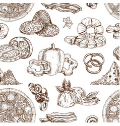drawn pizza ingredients pattern vector image vector image