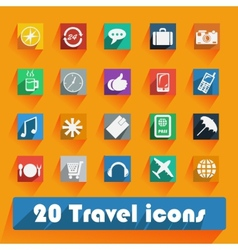 Office and business Travel flat icons for Web and vector image