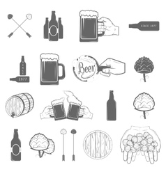 Set of Two-color Beer Craft Icons vector image vector image