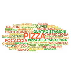 Traditional Italian pizza types vector image