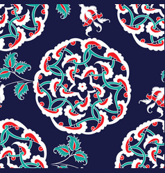 turkish iznik tile seamless islamic pattern with vector image vector image