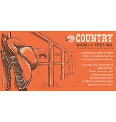 Western country music with cowboy hat and music vector image vector image